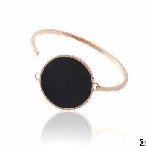 Black Enamel Round Pad Clasp Closure Skinny Rose Gold Fashion Bangles