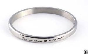 polished silver bangles engraved letters heart