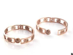 Hollowed Jewelry Charm Cuff Bangles Rose Gold Coated Girl Fashion Bangle Bracelet