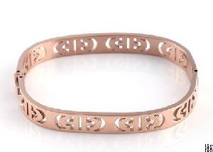 oval shaped hollowed cuff bangles snap clasp casual decoration