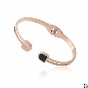 rose gold oval shaped stainless steel hollow bangle enamel connector