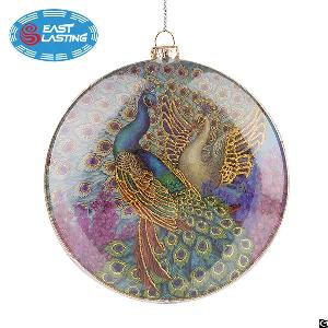 Flat Round Peacock Glass Christmas Ornament