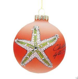 frosted orange glitter sea life christmas glass ball hanging decoration