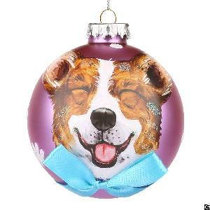 Hand Blown Ball Christmas Dog Tree Ornaments Wholesale