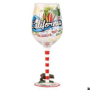 hand painted tourist souvenir gift wine glass