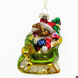 Santa Bear Glass Figurine Painting Christmas Decoration Hanging Ornament