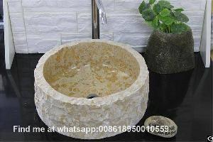 beige marble bathroom round vessel sinks stone wash basin