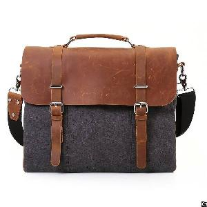 leather vintage 15 6 laptop messenger men canvas satchel briefcase college bag