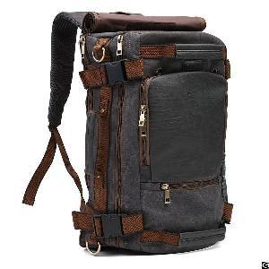 vintage canvas tactical backpack shoulder straps travel duffel rucksack hiking bag