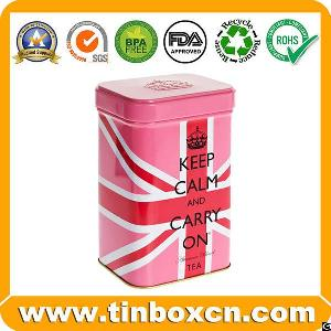 english afternoon tea tin square metal canister packaging
