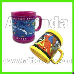 Pvc Cartoon Cute Children Custom Mugs For Aquarium Office Travel Agent Promotional Gifts