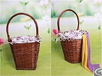 handmade wicker picnic basket storage fruit