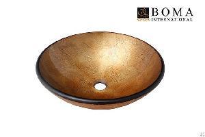 bathroom foil round glass counter vessl bowl sink