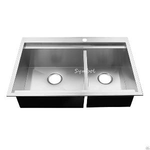 bowl 60 40 mount stainless steel sink