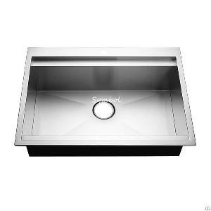 topmount handmade kitchen workstation sink ledge
