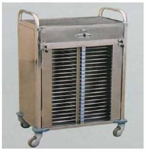 stainless steel case record 40 folder trolley
