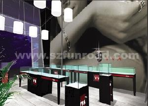 Black Paint Tempered Glass On Top Jewelry Display Case, Cabinet And Showcase For Shop