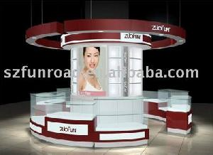 wooden cosmetics display case stand counter customized
