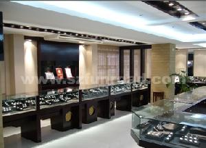 wooden glass jewelry display case watch dispaly cabinet showcase