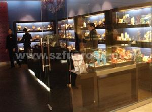 wooden tempered glass display case shop showroom