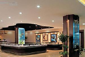 wooded display showcases glass cabinet