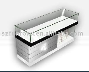 Wood Gl Countertop Jewellery Display Cabinet Showcase With Led Light For Jewelry Showroom