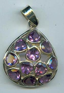 gemstone studded silver pendant