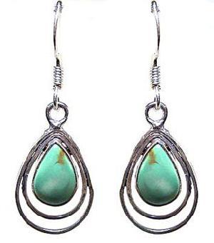silver earring gemstone