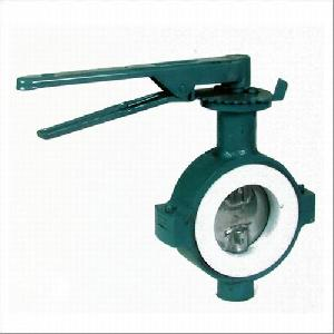 din ductile iron wafer teflon lined butterfly valve