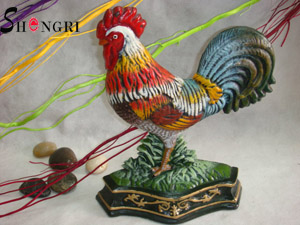 colored drawing rooster cockerel door stop