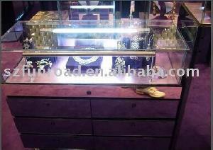 wood glass jewelry display case showcase cabinet light showroom
