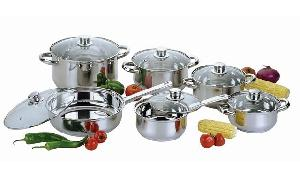 12pc stainless steel cookware cooking utensils pots pans kettle