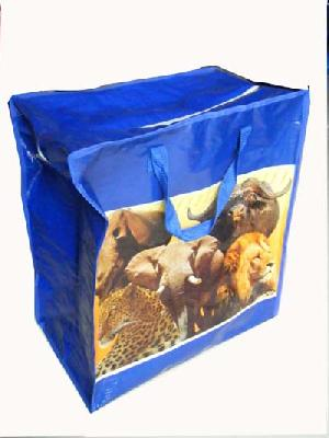 blue afric animal recycled plastic bag zipper handle