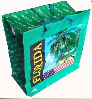 green paris colored woven bag
