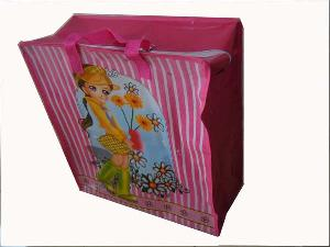 pink pretty girl recycled woven tote bag