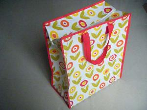 pretty sun flower reuseable plastic colored bag handle