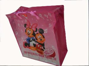 recycled folded pp mickey mouse woven shopping bag