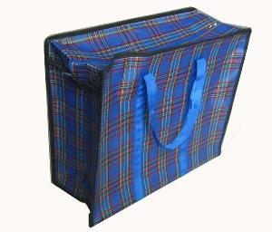 blue pane compound fabric shopping bag