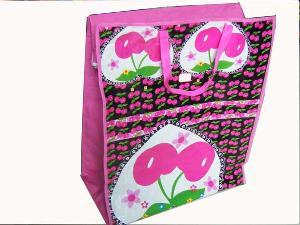 cherry heart folded bag handle zipper