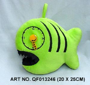 plush electronic toys qf013246 fish clock