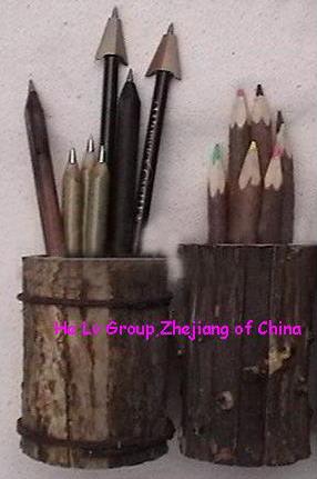 wooden pencil vase penholder