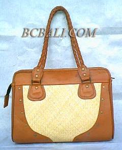 wholesale leather handbags rattan seagrass pandanus straw