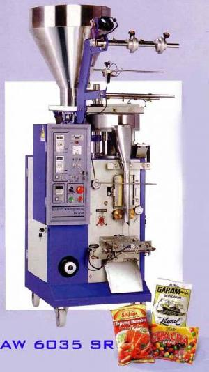 vertical packaging machine aw 6035 sr centre seal pillow pack powder seed granule chips