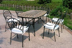 export marble wrought iron base table chairs