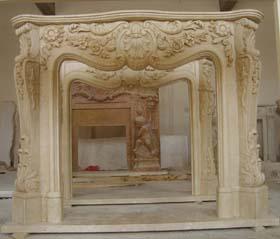 travetine beige stone fireplace