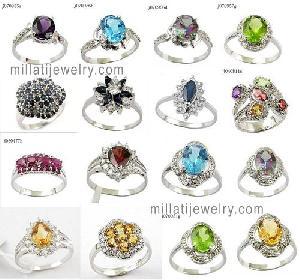 925 silver precious stone ring