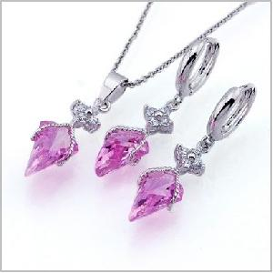 wholesale glod plated brass cz jewelry earring necklace