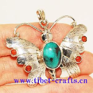 tibet sterling silver turquoise coral butterfly pendant