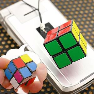 2 x puzzle cube cell phone strap