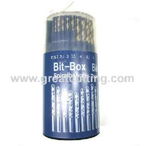 19 twist drills din 338 round plastic box hanger jobber tool